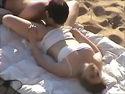 Big tit brunette gets slurped out and pulverized at the beach