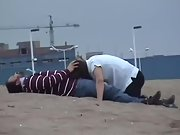 Nasty wife sucking hubby and gulping cum at the beach