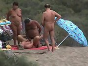 Wife fucking at a nudist beach in the sand dunes people watching