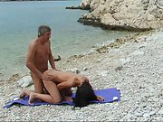 Beach fuck outdoor orgy old dude screwing red-hot younger woman