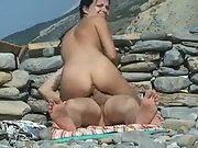 Super hot brunette with nice juggs gets caught riding a thick pecker in public
